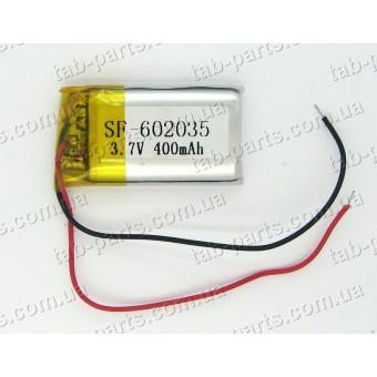 Батарея (аккумулятор) для видео регистратора, BlueTooth гарнитуры 400мАч , Li-Pol 3.7В, 35*20*6 мм