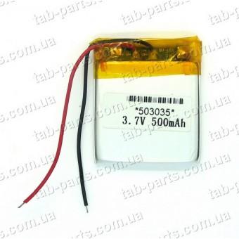 Батарея (аккумулятор) для видео регистратора, BlueTooth гарнитуры 500мАч , Li-Pol 3.7В, 35*30*5 мм