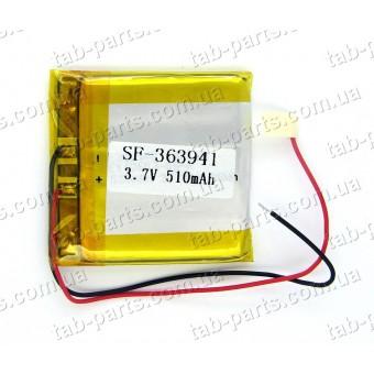 Батарея (аккумулятор) для видео регистратора, BlueTooth гарнитуры 510мАч , Li-Pol 3.7В, 41*39*3.6 мм