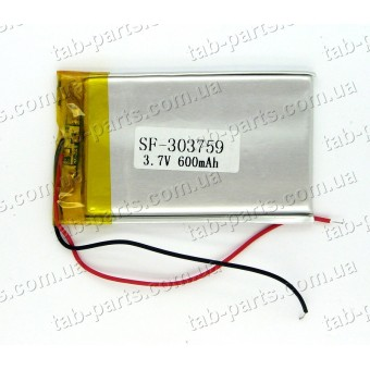 Батарея (аккумулятор) для видео регистратора, BlueTooth гарнитуры 600мАч , Li-Pol 3.7В, 59*37*3 мм