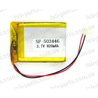 Батарея (аккумулятор) для видео регистратора, BlueTooth гарнитуры 820мАч , Li-Pol 3.7В, 46*34*5 мм
