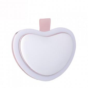 Зеркало для макияжа с LED подсветкой, подогревом рук и Power Bank 4500Mah сердце белое (MP-L4-W)