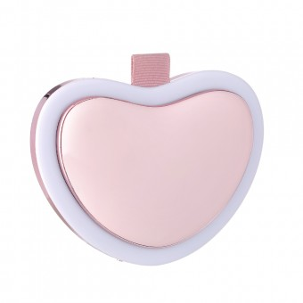 Зеркало для макияжа с LED подсветкой, подогревом рук и Power Bank 4500Mah сердце розовое (MP-L4-P)