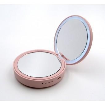 Зеркало косметическое SmartMirror с LED подсветкой и Power Bank 4000Mah розовое (SM-L3-P)