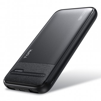 УМБ Power Bank Topk 2xUSB 10000 mAh черный 2 входа - microUSB, USB Type-C (TKI1016-BL)