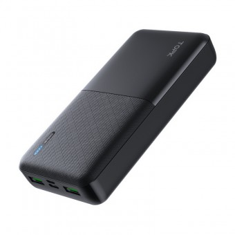 УМБ Power Bank Topk 2xUSB 20000 mAh черный 2 входа - microUSB, USB Type-C (TKI2009-BL)