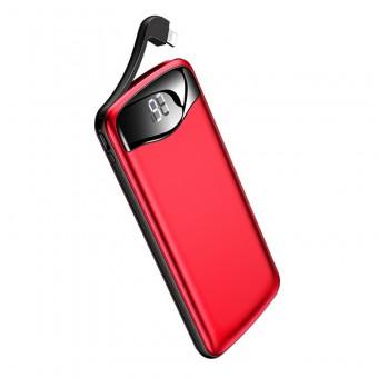 УМБ Power Bank Usams 10000 mAh 2xUSB c кабелем Apple Lightning, вход Apple Lightning, алюминиевый красный (US-CD90-RD)