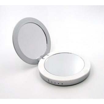 УМБ Power Bank  SmartMirror 3000Mah с косметическим зеркалом и LED подсветкой серебро (MP-L2-S)