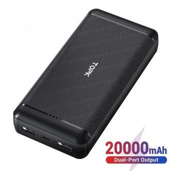 УМБ Power Bank Topk 2xUSB 20000 mAh черный 2 входа - microUSB, USB Type-C (TKI2007-BL)