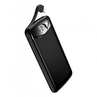 УМБ Power Bank Usams 10000 mAh 2xUSB c кабелем Apple Lightning, вход Apple Lightning, алюминиевый черный (US-CD90-BL)