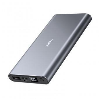 УМБ Power Bank Topk 1xUSB 10000 mAh серый 2 входа - microUSB, USB Type-C (TKI1006-GR)