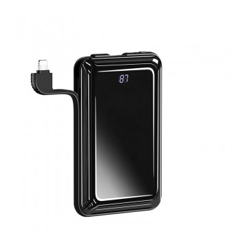 УМБ Power Bank Usams 10000 mAh mini c кабелем 2в1, входы Apple Lightning/Micro USB черный (US-CD107-BL)