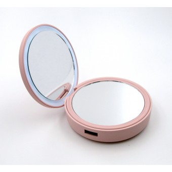 УМБ Power Bank  SmartMirror 4000Mah с косметическим зеркалом и LED подсветкой розовый (MP-L3-P)