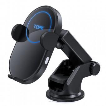 Автодержатель для телефона с беспроводной зарядкой и автофиксацией TOPK черный (TKB05W-BL)