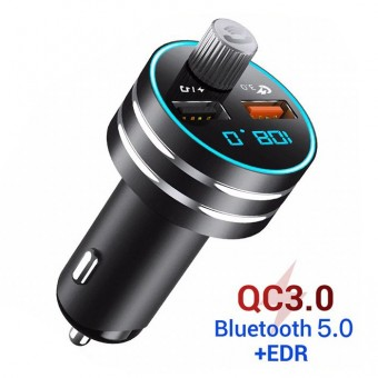 FM-трансмиттер модулятор Topk с Bluetooth 5.0, USB Quick Charge 3.0 18W 2xUSB Black (TK201Q-BL)