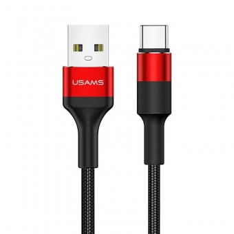 Кабель синхронизации Usams USB Type-C 1.2m 2A нейлоновый красный (US-SJ221-RD)