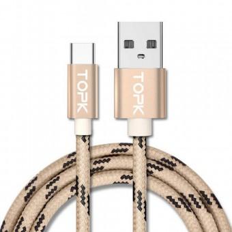 Кабель синхронизации Topk USB Type-C 1m 3A нейлоновый gold (TK09C-VER2-GD)