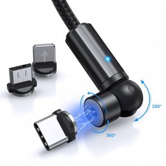 Магнитный кабель для зарядки Topk 3 в 1 1m 2.4A 540° черный (TK68-3-VER2-BL)