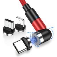 Магнитный кабель для зарядки Topk 3 в 1 1m 2.4A 540° красный (TK59-3-VER2-RD)