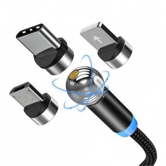 Магнитный кабель для зарядки Topk 3 в 1 360° черный (TK28-3-VER2-BL)