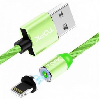 Светящийся магнитный кабель для зарядки Topk iPhone 1m 2.4A 360° зеленый (TK67i-VER2-GE)