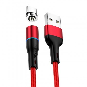 Магнитный кабель синхронизации Usams USB Type-C 1m 3A 360° красный (US-SJ353-RD)