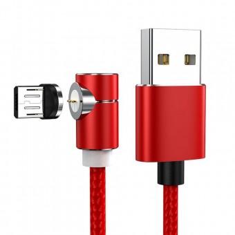 Магнитный кабель синхронизации Topk microUSB 1m 2.4A 360° нейлоновый красный (TK69U-VER2-RD)