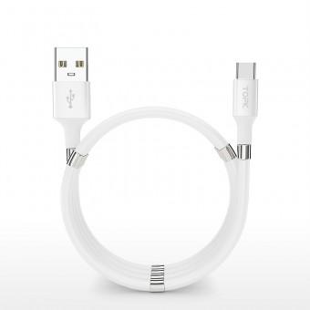 Магнитный кабель зарядки и синхронизации Topk USB Type-C 1m 3A белый (TK07C-VER2-WT)