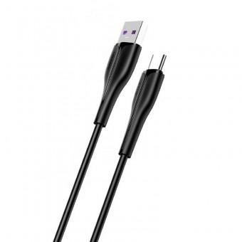 Кабель синхронизации Usams USB Type-C быстрая зарядка для HUAWEI и OPPO 1m 5A черный (US-SJ376-BL)