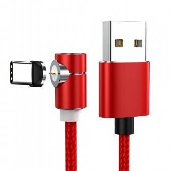 Магнитный кабель синхронизации Topk USB Type-C 1m 3A 360° нейлоновый красный (TK69C-VER2-RD)