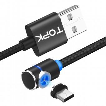 Магнитный кабель для зарядки Topk microUSB 1m 2.4A 360° черный (TK30U-VER2-BL)