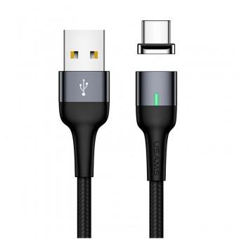 Магнитный кабель синхронизации Usams USB Type-C 1m 3A черный (US-SJ327-BL)