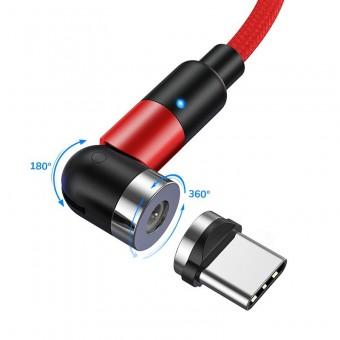 Магнитный кабель для зарядки Topk USB Type-C 1m 2.4A 540° красный (TK59C-VER2-RD)