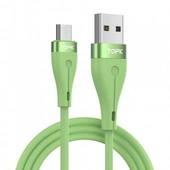 Кабель синхронизации Topk microUSB 1m 2.4A силиконовый зеленый (TK46U-VER2-GE)
