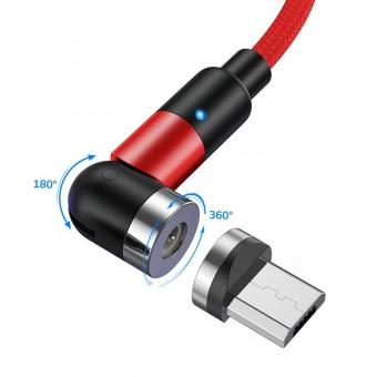 Магнитный кабель для зарядки Topk microUSB 1m 2.4A 540° красный (TK59U-VER2-RD)