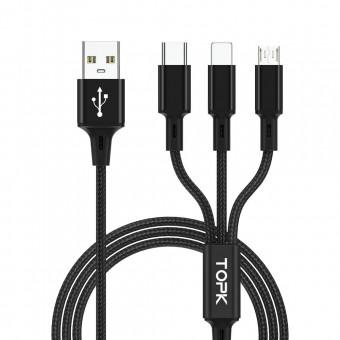 Кабель для зарядки Topk 3в1 MicroUSB, USB Type-C, IPhone 1.2m 2.4A нейлоновый черный (TK20-3-BL)
