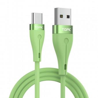Кабель синхронизации Topk USB Type-C 1m 3A силиконовый зеленый (TK46C-VER2-GE)