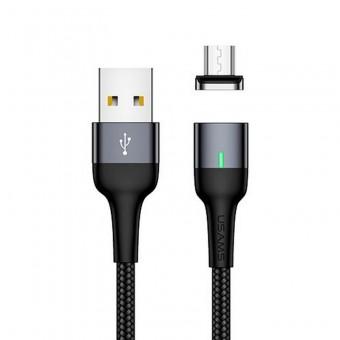 Магнитный кабель синхронизации Usams MicroUSB 1m 2.1A черный (US-SJ328-BL)