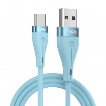 Кабель синхронизации Topk USB Type-C 1m 3A силиконовый голубой (TK46C-VER2-BE)
