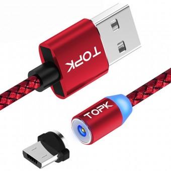 Магнитный кабель для зарядки Topk microUSB 1m 2.4A 360° красный (TK17U-VER2-RD)