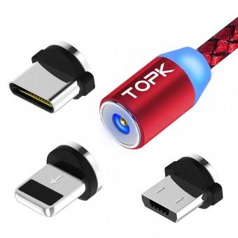 Магнитный кабель для зарядки Topk 3 в 1 360° красный (TK17-3-VER2-RD)