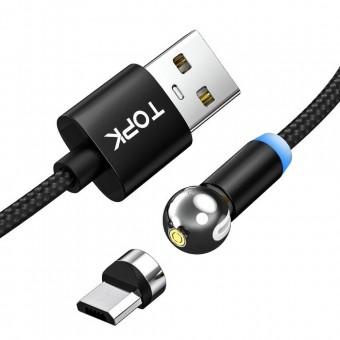 Магнитный кабель для зарядки Topk microUSB 1m 2.4A 360° черный (TK28U-VER2-BL)