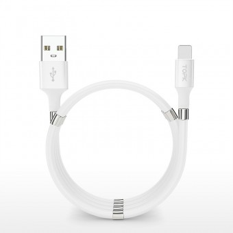 Магнитный кабель зарядки и синхронизации Topk iPhone 1m 3A белый (TK07i-VER2-WT)