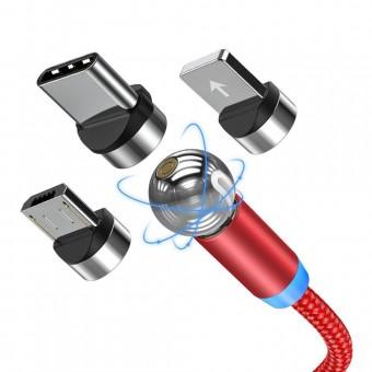 Магнитный кабель для зарядки Topk 3 в 1 360° красный (TK28-3-VER2-RD)