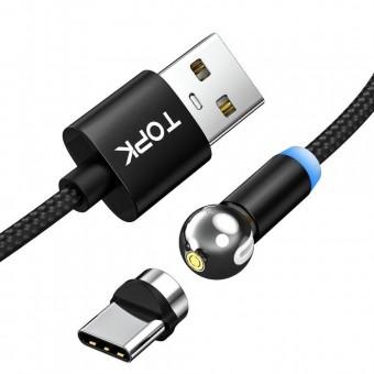 Магнитный кабель для зарядки Topk USB Type-C 1m 2.4A 360° черный (TK28C-VER2-BL)