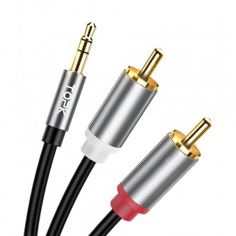 Аудио кабель Topk Jack 3.5 мм - 2 RCA 1м черный (TKL14-BL)