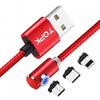 Магнитный кабель для зарядки Topk 3 в 1 360° красный (TK51-3-VER2-RD)