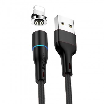 Магнитный кабель синхронизации Usams iPhone 1m 2.4A 360° черный (US-SJ352-BL)