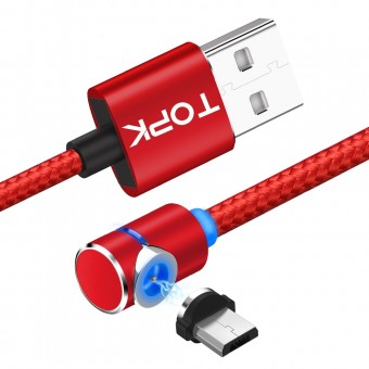 Магнитный кабель для зарядки Topk microUSB 1m 2.4A 360° красный (TK30U-VER2-RD)