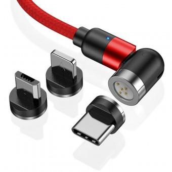 Магнитный кабель синхронизации Topk 3в1 1m 3A 540° красный (TK66-3-VER2-RD)